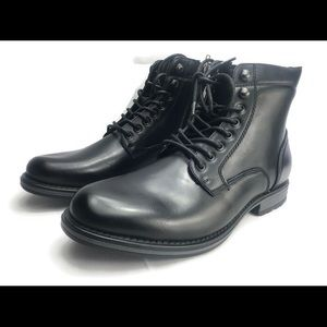 Other - Black leather men's lace up zipper boot size 12